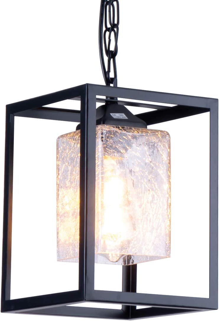 SYDTOP Modern Clear Crackled Glass Pendant Light with Chain Black Metal Frame Industrial Hanging Light Fixture Vintage Mini Cage Pendant Lighting for Kitchen Island Dining Room Farmhouse
