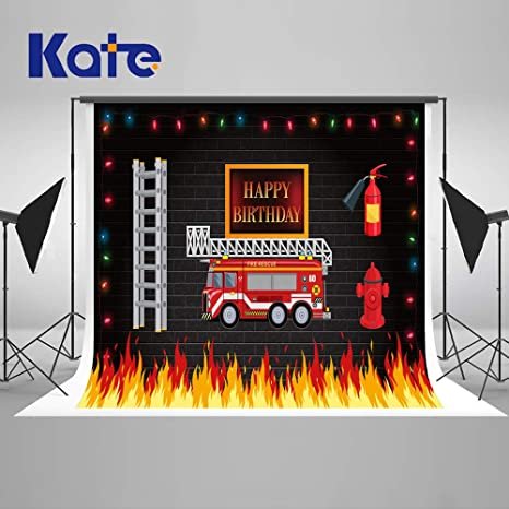 Amazon Com Kate 7 5ft Fire Truck Birthday Party Backdrops Sound