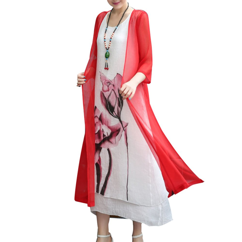 Honwenle Women's Two Piece Retro Round Neck Asymmetric Hem Color Block Printed Long Cotton Linen Maxi Dress 381B44C8327F