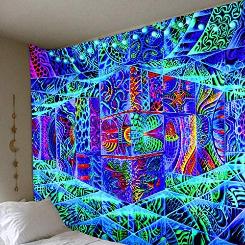 Room Decor For Teen Girls 3D Abstract Psychedelic Stitching Tapestry Colorful Blue Line Space Wall Hanging Bedroom Wall Tapestry Neon Wall Tapestry 79 X 59 In Wall Tapestry