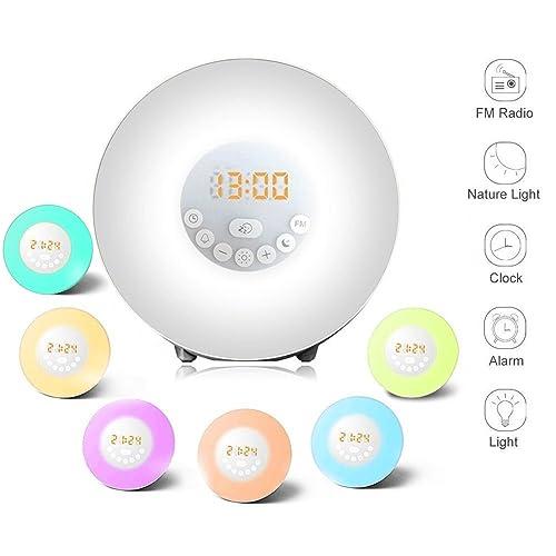 Wake Up Light Alarm Clock - Digital Led Sunrise Simulator Alarm Clock Radio FM RGB White Adjustable Color Changing Touch Display Circular Modern Wake Up Table Lamp Light