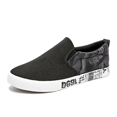 Espadrilles Mens Canvas Shoes Casual Shoes Student Trainers Shoes Flat Loafers Deck Shoes (Color : Black Size : 42)