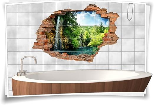 BxH 75x50cm Medianlux Fliesenaufkleber Fliesenbild Fliesenaufkleber Wanddurchbruch Wellness Wasser Bad 15x15cm