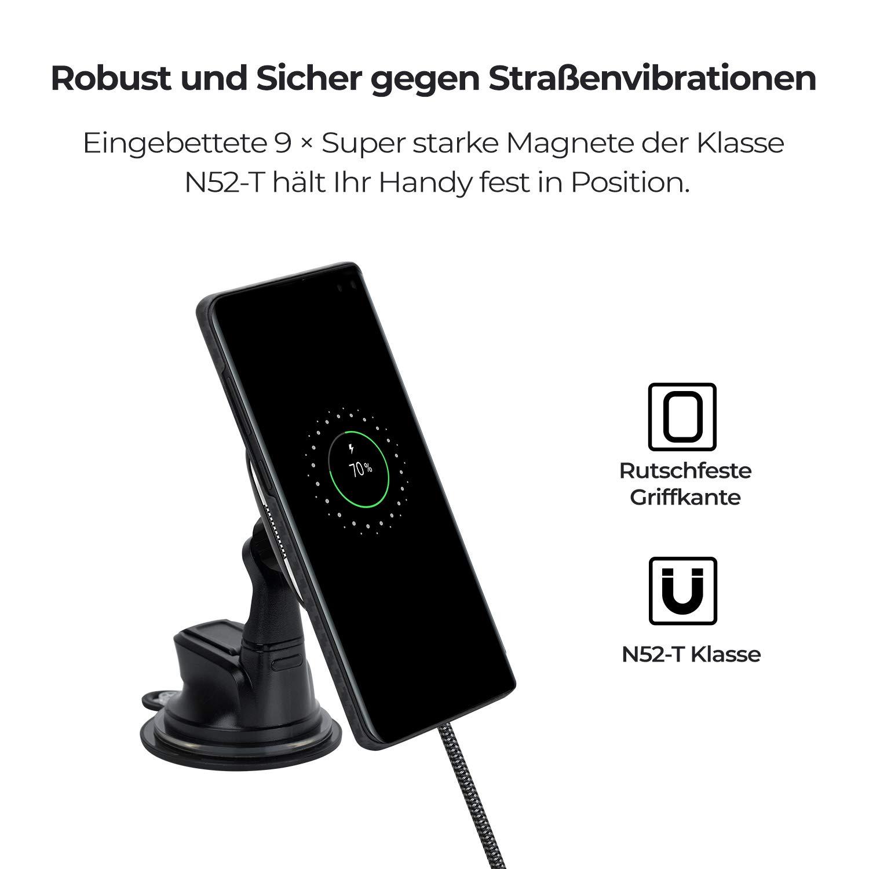 Soporte magn/ético para Coche para Carga inal/ámbrica New MagMount Qi Compatible Solo con MagCase y MagCase Pro, r/ápido Soporte para tel/éfono m/óvil Qi inductivo para iPhone Galaxy Qi pitaka