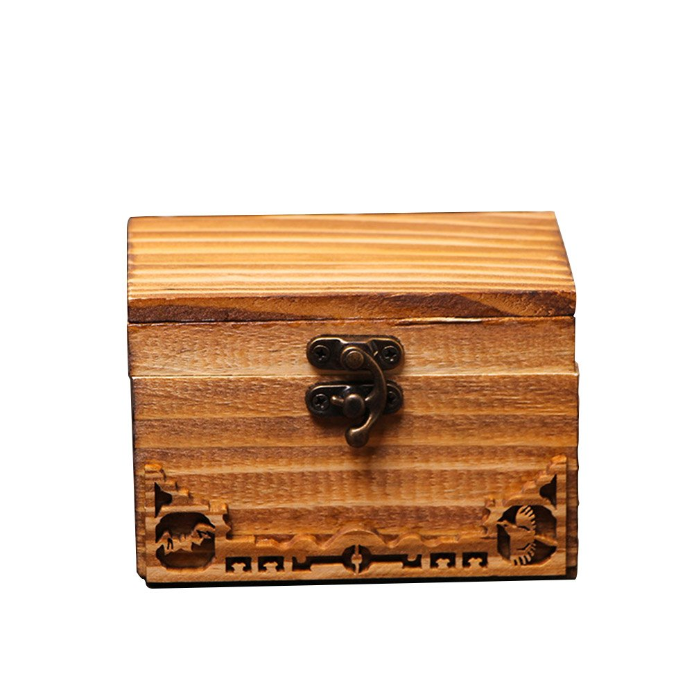 DinQ Vintage Wooden Classical Treasure Box Storage Antique Style, Suitable for Jewelry Coffee Beans Teabag and so on