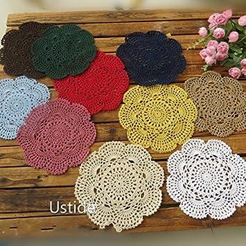 Ustide Vintage Crochet Doilies Hollow ganchillo manteles individuales de mesa hecho a mano diseño de flores (Multi Color 12pcs: Amazon.es: Hogar
