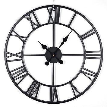 Antic by Casa Chic Reloj de Pared metálico Grande con Mecanismo Quartz - 80cm diámetro - Números Romanos - Manetas Vintage - Negro: Amazon.es: Hogar