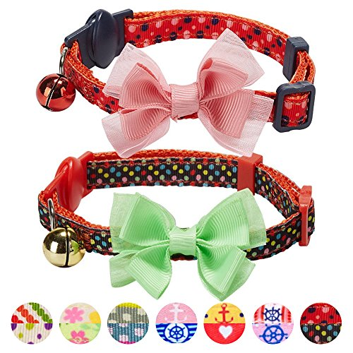 Dots Cat Collar - Blueberry Pet Pack of 2 Cat Collars, World of Polka Dots Adjustable Breakaway Cat Collar with Bow Tie & Bell, Neck 9