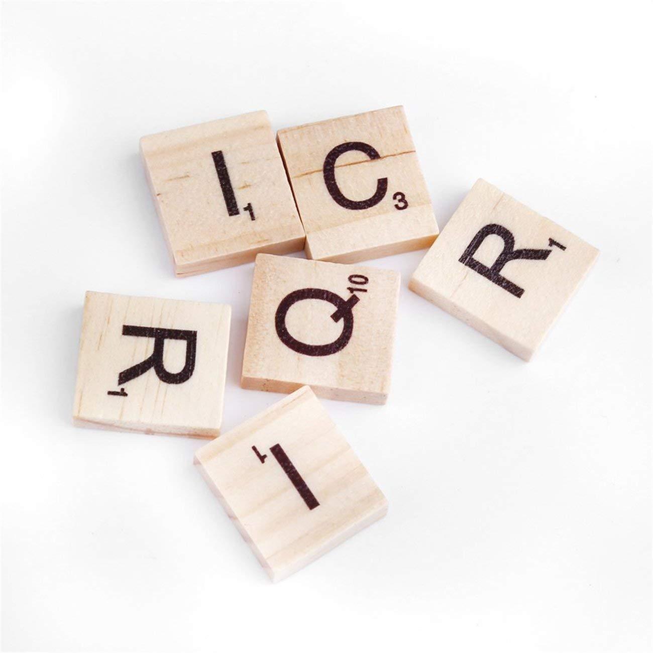 JIUY 100PCS alfabeto de madera azulejos negro cartas para Scrabble Kid dibujo educativo pintura del ni/ño del juguete de regalo negro y el color de la madera