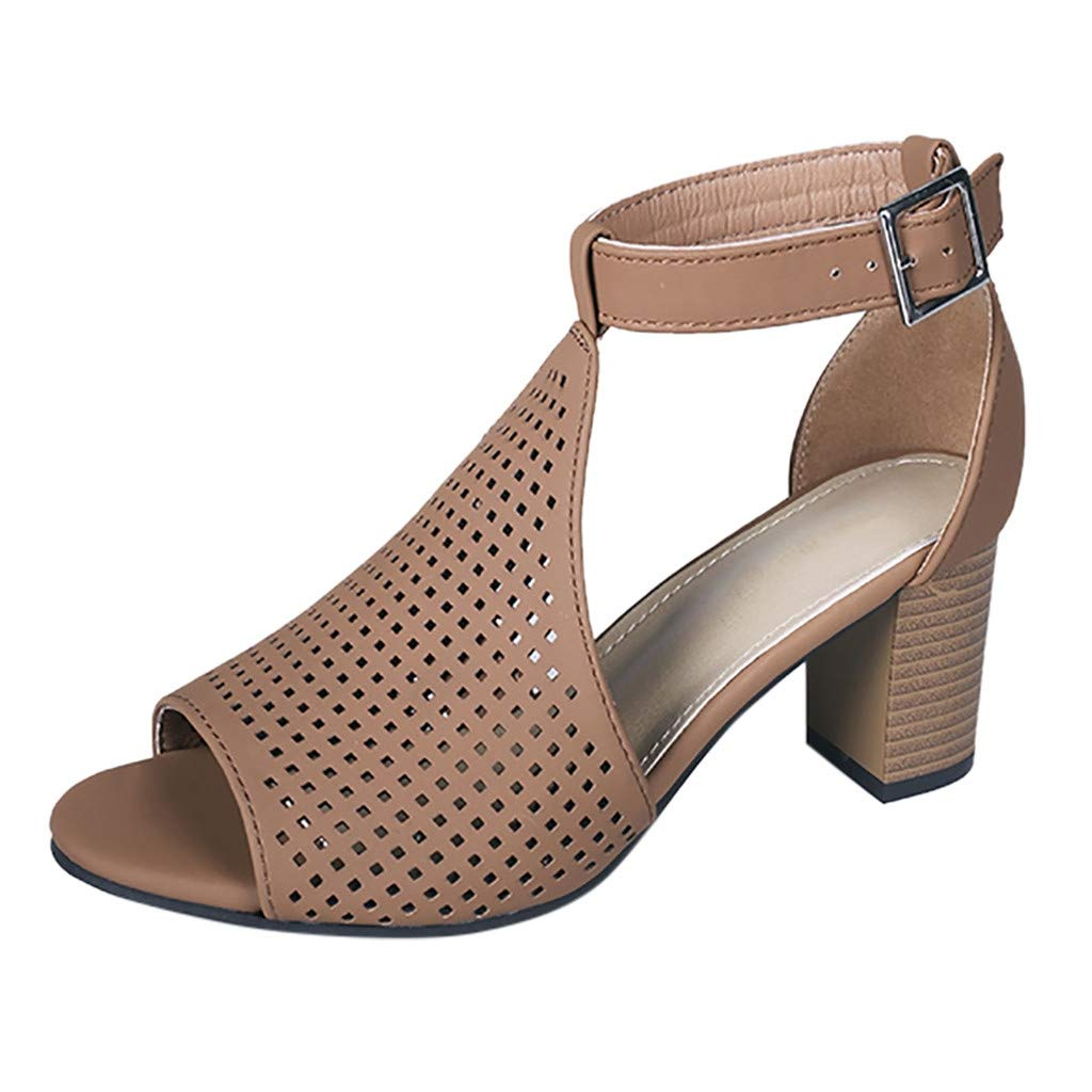 Women Sandals THENLIAN Women's Square Heel Fish Mouth Buckle Hollow Out Buckle Roman Shoes Sandals(42, Brown)