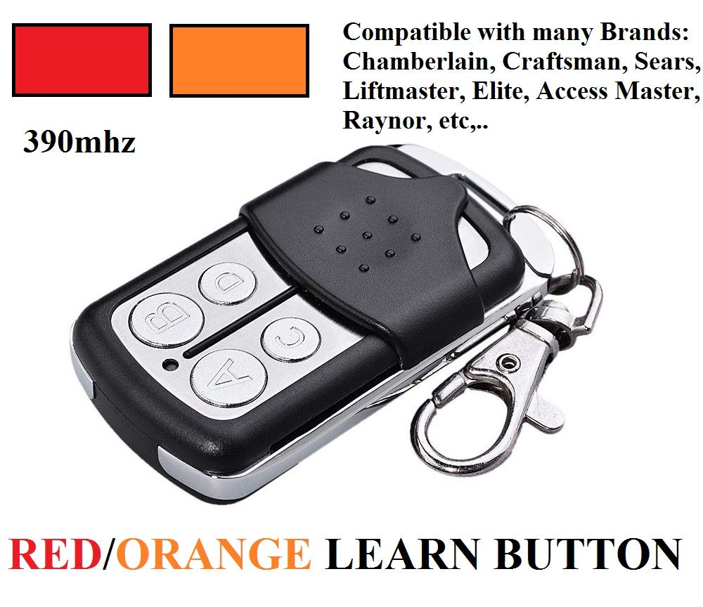 Sears 139.53681B Garage Door Opener Key Chain Remote Control 139.53680 2 Key Chain Remote Control for 4 Doors ONLY Works for RED & Orange Learn Button