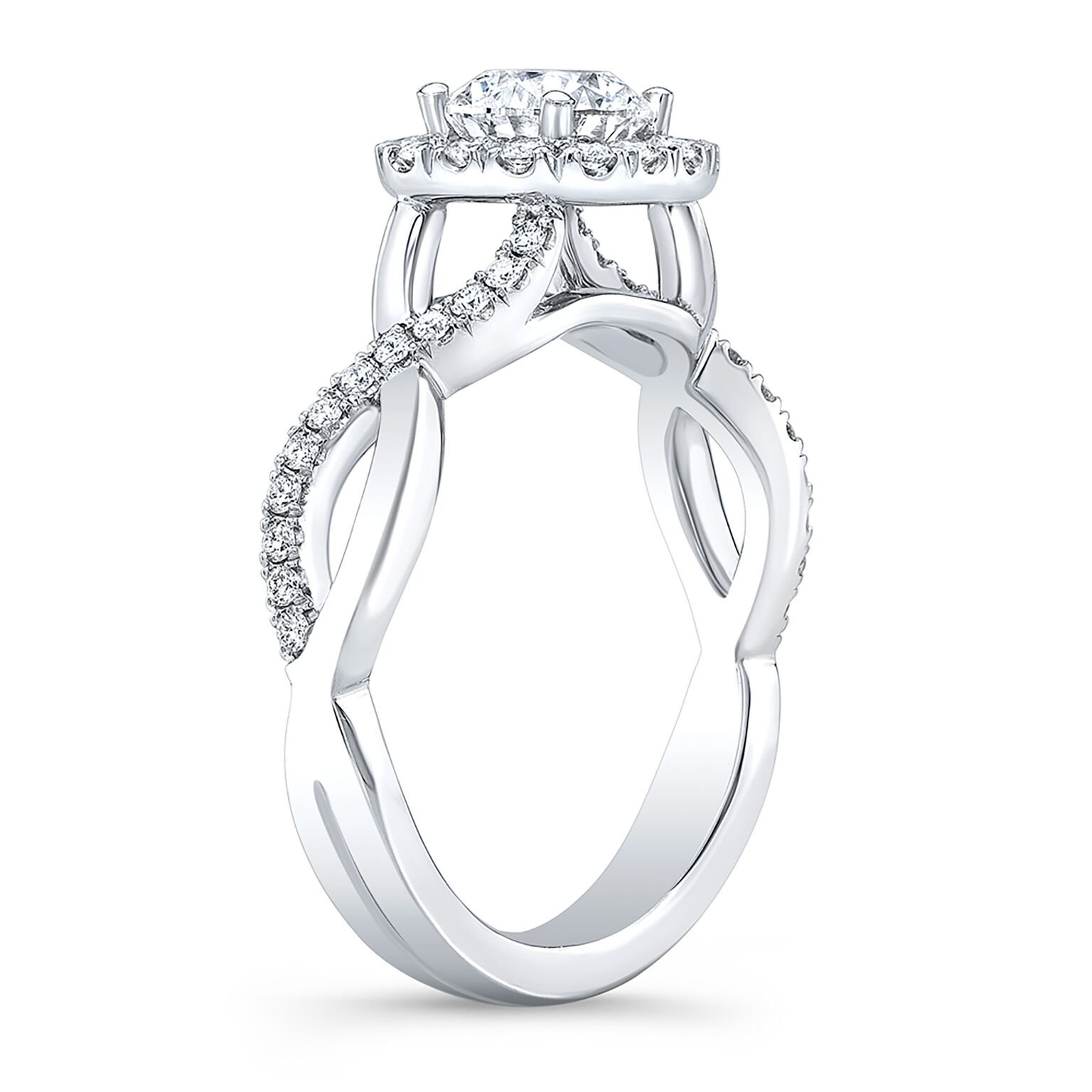 Natural Round Cut Twisted Pave Diamond Engagement Ring
