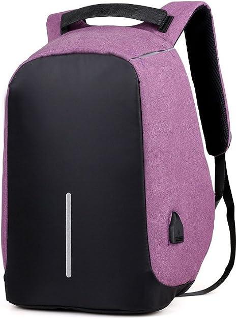 Mochila para portátil (15,6 pulgadas, para hombre Teen Boys resistente al agua mochila escolar con USB puerto de carga, morado (Morado) 20170903010