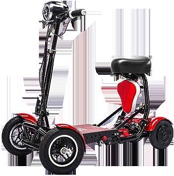A&DW Scooter De Movilidad Portátil De 4 Ruedas, 250 Vatios X 2Motor Baterías De Litio De 36 V Rango De Crucero 28 Km, Bicicleta Motorizada Plegable Liviana para Niños Adultos,Red: Amazon.es: Deportes