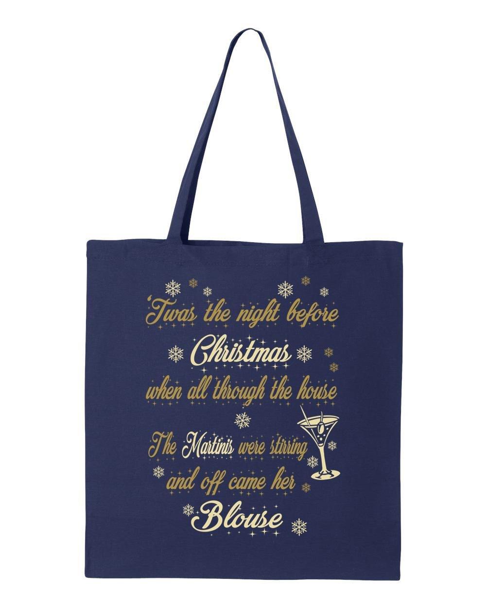 shop4ever Night BeforeクリスマスMartiniトートバッグ醜いクリスマス再利用可能なショッピングバッグ6オンスコットンキャンバス 6 oz ブルー XIT_1215_NghtMartini_TB_8502_Navy_3 B072B8QM75  ネイビー