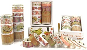 40 Rolls Washi Tape Set with 4 Sizes, Cute Natural Floral Feathers, Decorative Tape for Scrapbooks, Journals, DIY Decor and Craft Aplied (Autumn Forest)