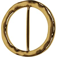 Evelots Hammered Gold-Toned Round Scarf Ring, Scarves Accessory Jewelry