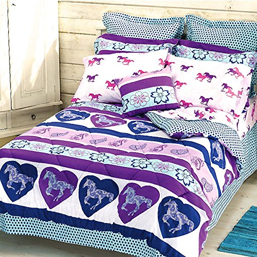 Girls PAISLEY PONY HORSE Purple & Blue HEARTS 6pc Comforter Set W/Sheets (Bed in a Bag) (Twin Size)