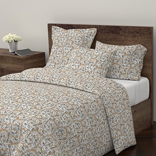 Copper Euro Comforter - Roostery Zodiac Duvet Cover Ankh Egyptian Tribal Holli Zollinger Copper Astrology by Holli Zollinger 100% Cotton Twin Duvet Cover