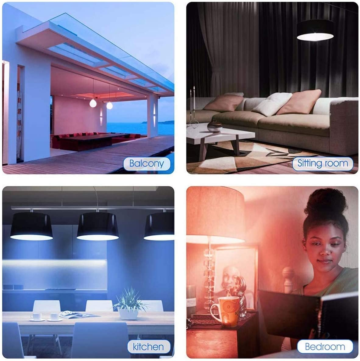 LED Smart Light Bulb,Remote Control Warm /& Cold White RGB Dimmable Bulbs Work with APP Alexa and Google Assistant E26 E27 7W 1 Pack
