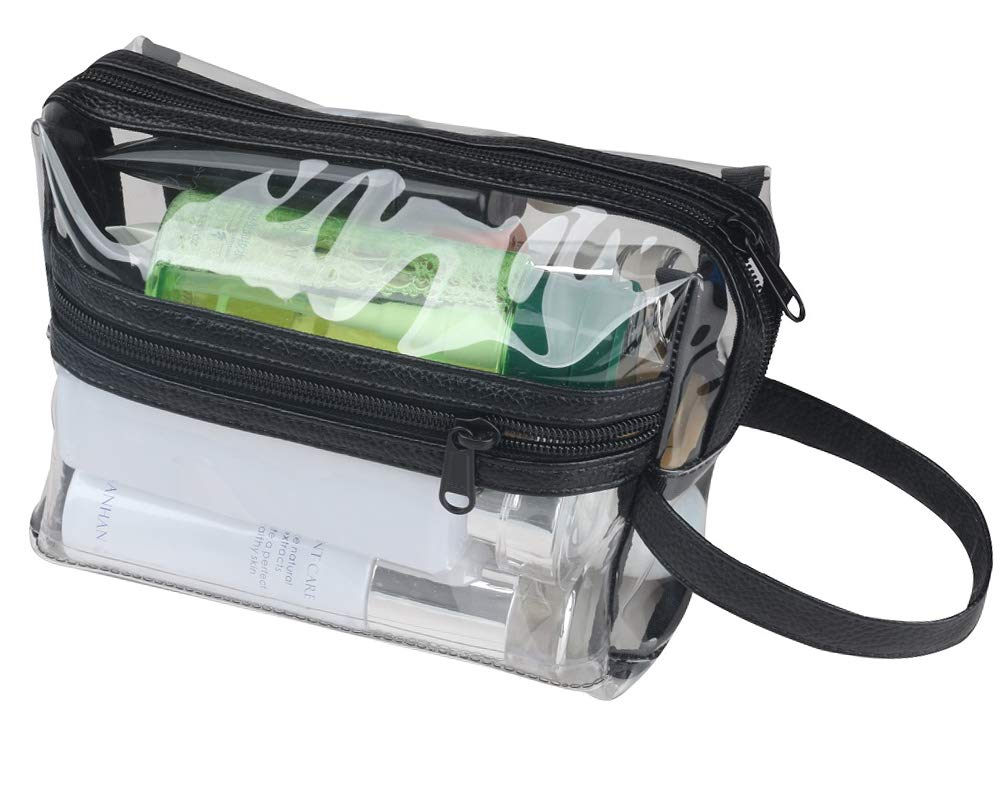 TSA Approved Clear Toiletry Makeup Bags Transparent Shaving Bag Water Resistant Cosmetic Bag Organizer Pouch for Travel with Zipper and Handle (Black (1 quart size))