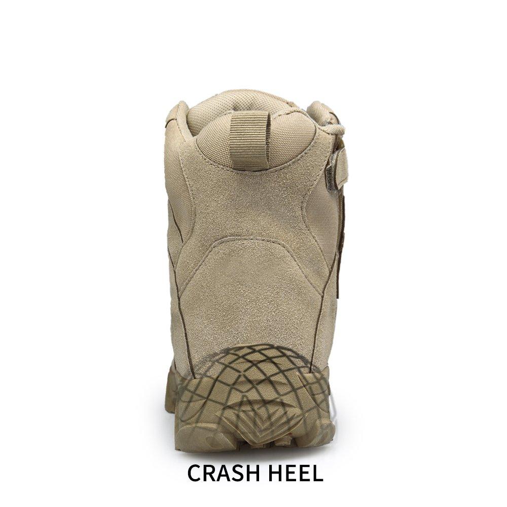 ENLEN&BENNA Men's Desert Boots Tactical Combat Boots Military Boots Tan Composite Toe Side Zipper Lightweight Brown by ENLEN&BENNA (Image #6)