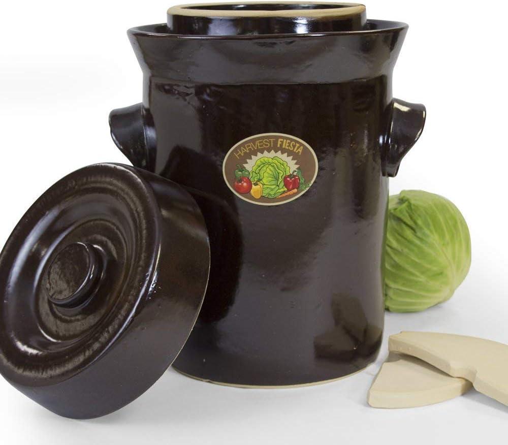 Amazon Com Tsm Products Harvest Fiesta Fermentation Pot With Stone Weight 15 Liter Condiment Pots