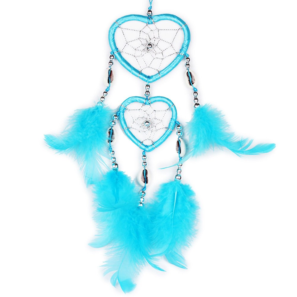 Small Handmade Dream Catcher Traditional Dreamcatcher Heart Shape Design Style Colorful Feather Car/Wall Hanging Decoration Ornament (Royal Blue) H.W.T
