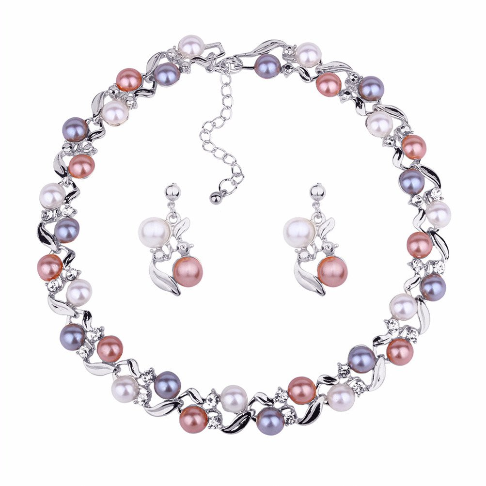 Luxury Pearl Wedding Jewelry Set Necklace Earrings Party Wear Birthday Gift for Mother Wife (White) by Mrsrui