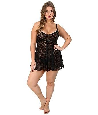 1601a97bd Hanky Panky Womens Plus Size Peek-A-Boo Lace Babydoll w G-String at ...