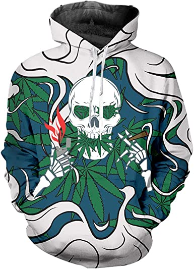 Amazon Com Nordic Runes Weed Skull Hoodies For Men Women Sweatshirts Pullover Hoodie With Cool Designs Clothing