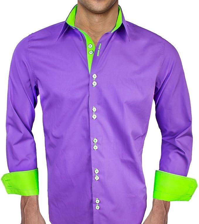 Amazon.com: Morado con neón verde diseñador vestido camisas ...