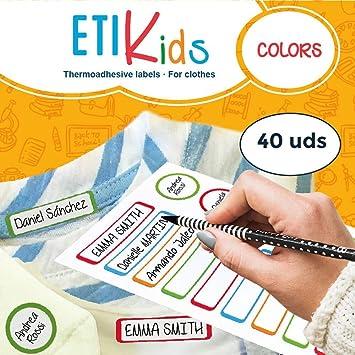 ETIKIDS 40 Etiquetas para planchar a la ropa personalizables para la guardería y colegio. (color): Amazon.es: Oficina y papelería