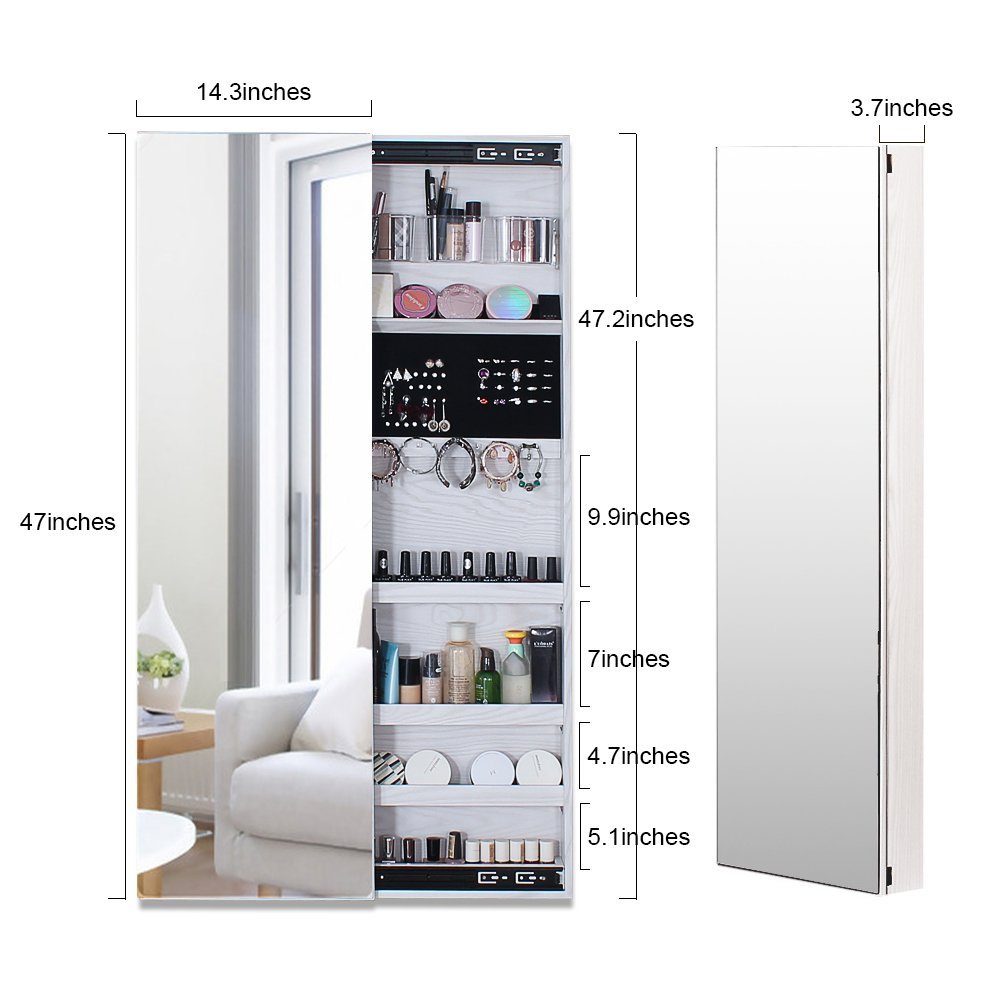 NEX Door Wall Mounted Jewelry Armoire Makeup Storage Organizer with Real Glass Mirror - White by NEX (Image #2)