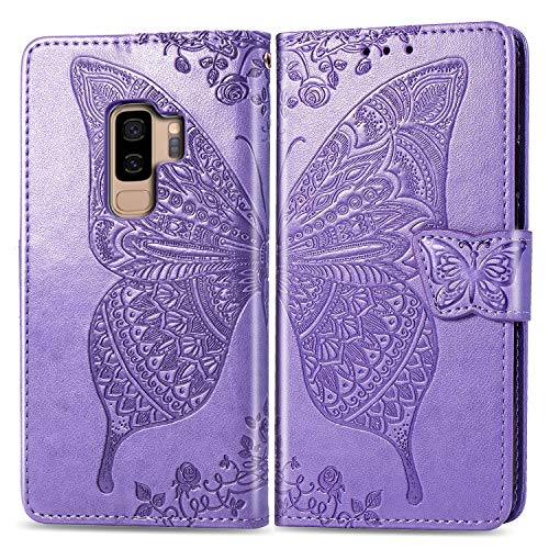 Butterfly Floral Wallet - Ropigo 3D Butterfly Floral Flip Leather Kickstand Wallet Protective Case for Samsung Galaxy S9 Plus S9+ with Wrist Strap and Credit Card Slots Holder Purple