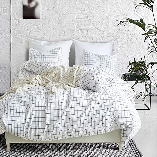 GiveUWant Microfiber White Plaid Duvet Cover Twin (68x90 Inch), 2 Pieces (1 Pillowcase,1 Duvet Cover) Soft Grid Comforter Cover Set (No Comforter), Zipper Ties Bed Set for Women, Children and Girls. ()