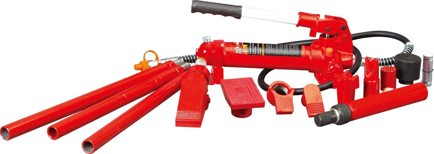 4 Ton Capacity BIG RED T70401S Torin Portable Hydraulic Ram: Auto Body Frame Repair Kit with Blow Mold Carrying Storage Case 8,000 lb Red