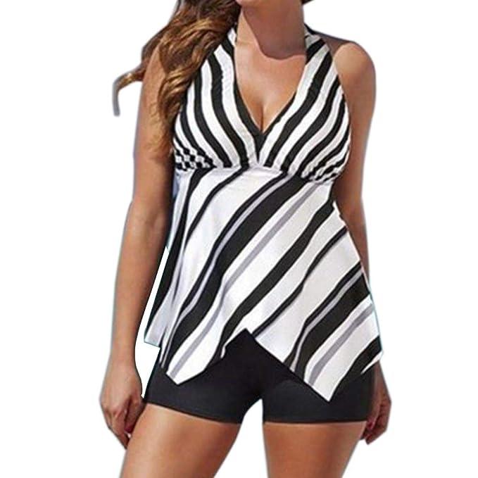 6de34d3f89b10 LAPOPNUT Women's Plus Size Swimwear Flowy Tankini Set Halter Tummy Control  Modest Two Piece Swimsuit at Amazon Women's Clothing store: