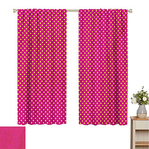 Mozenou Girls, Thermal Insulating Blackout Curtain, Retro Polka Dots Vintage Textured Classical Lovely Feminine Nostalgic Design, Blackout Draperies for Bedroom Hot Pink Yellow