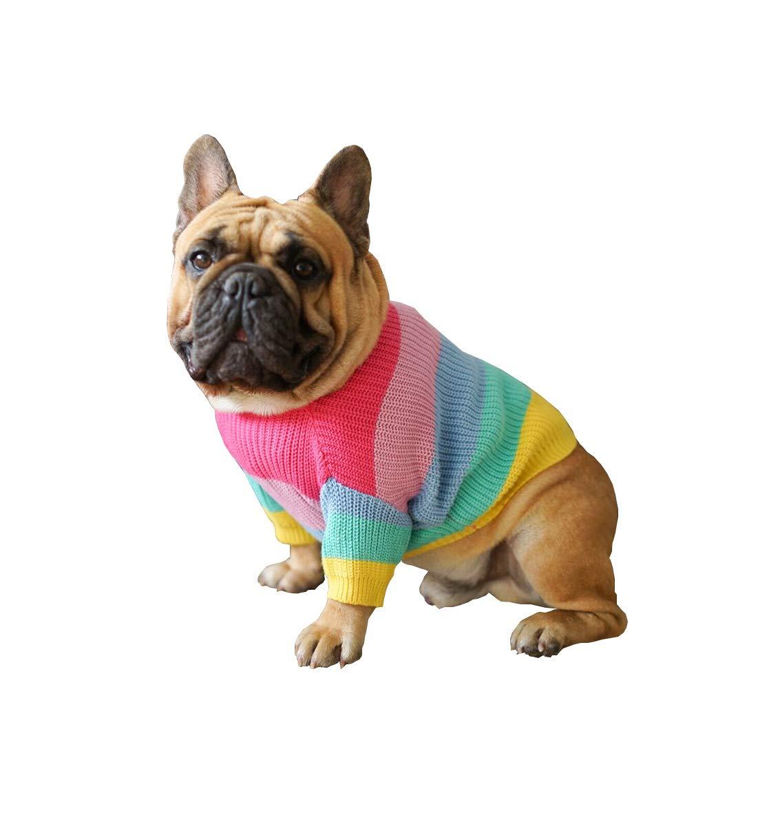 Khemn Bulldog Rainbow Knitted Sweater, Dog Pullover, Cute Dog Clothes for French Bulldog/English Bulldog/Bull Terrier/Pug (XL)