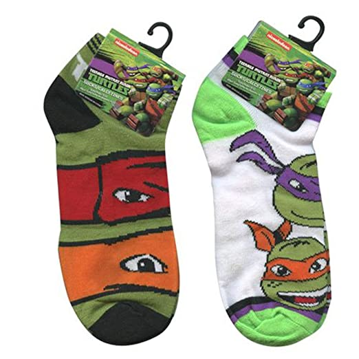 Licensed Nickelodeon Teenage Mutant Ninja Turtle TMNT Low Cut Socks Size 9-11 2 Pack