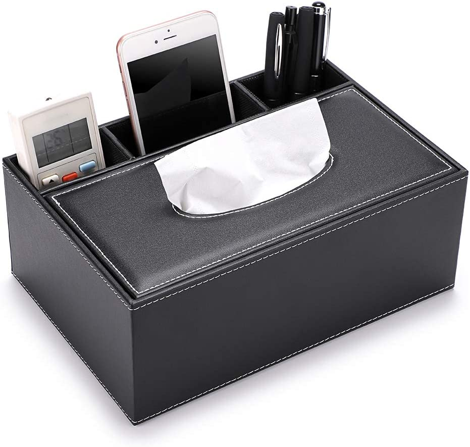 Sumnacon PU Leather Rectangular Tissue Box Cover - Multifunctional Tissue Box Holder with Stationery Remote Control Box, Decorative Tissue Pen Remote Organizer for Home/Office/Car/Restaurant, Black
