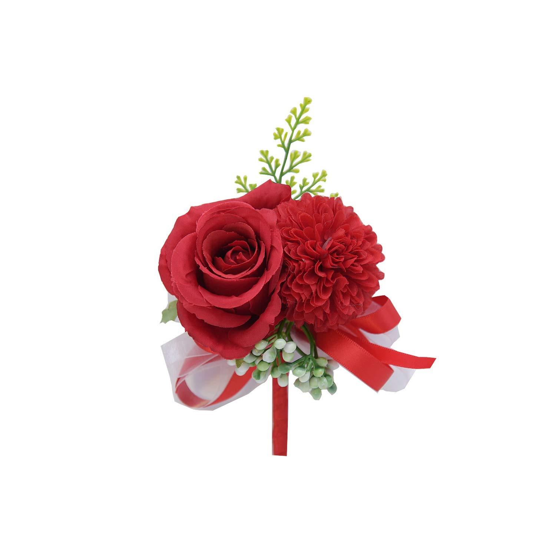 5pcs Artificial Wedding Corsage Boutonniere Buttonhole Flower Bouquet Cream