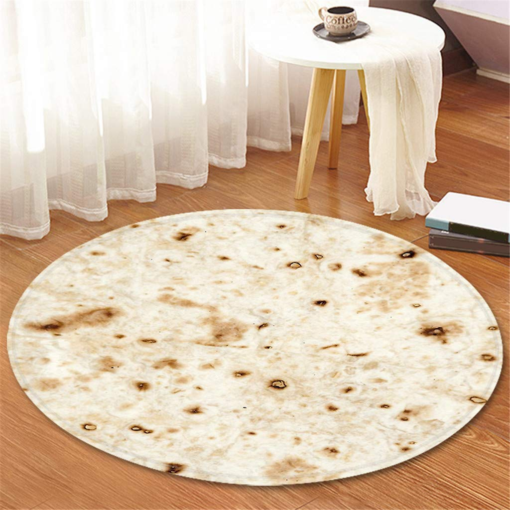 Comfort Food Creations Burrito Wrap Novelty Blanket - Perfectly Round Bathroom Tortilla Carpet 120cm (C) by Sunshinehomely (Image #2)
