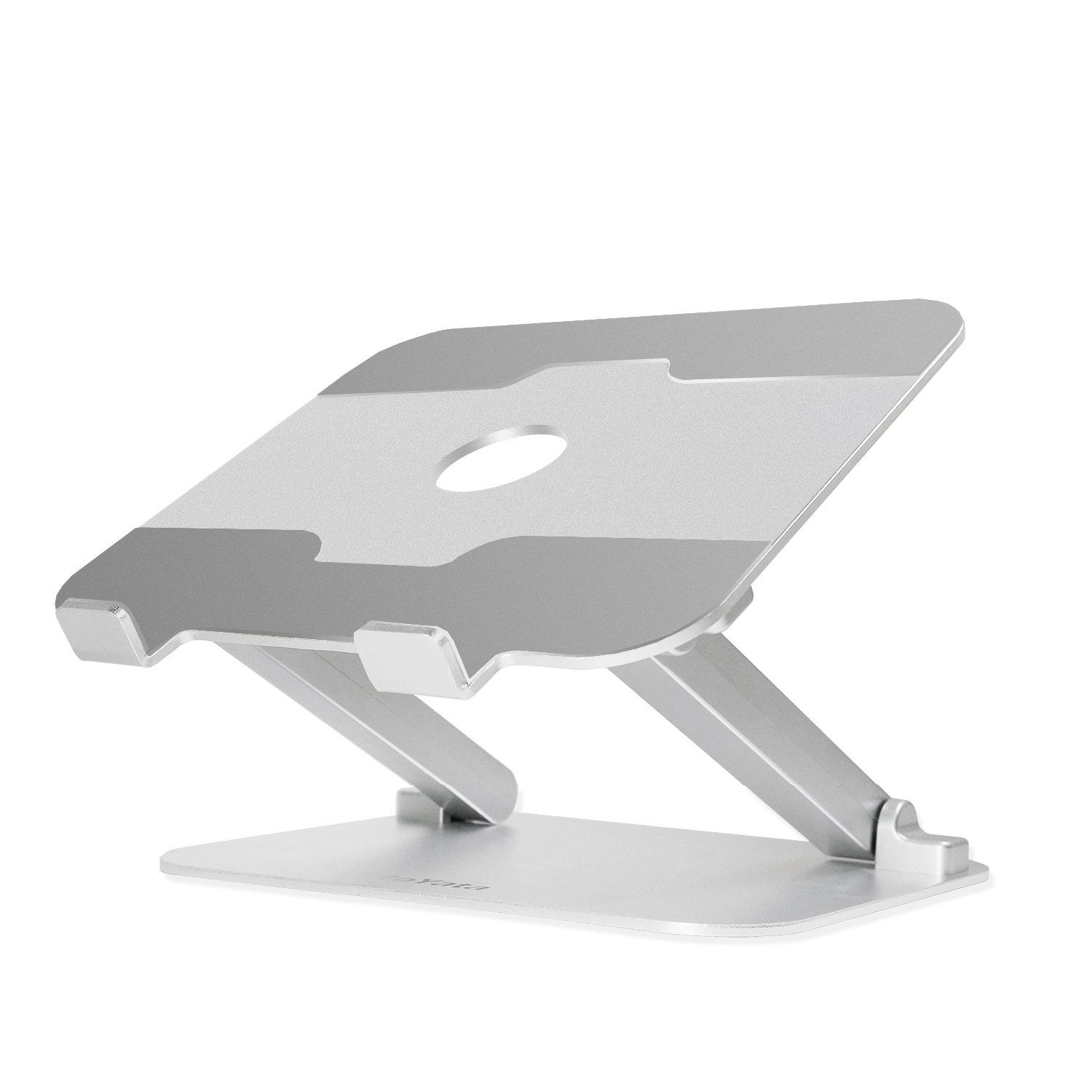 BoYata Laptop Stand, Foldable Laptop Holder: Multi-Angle Solid Stand, Adjustable Portable Notebook Stand Compatible for Laptop (10-17 inch) including MacBook Pro/Air, Surface Laptop, Samsung, Toshiba, HP, Lenovo -Silver