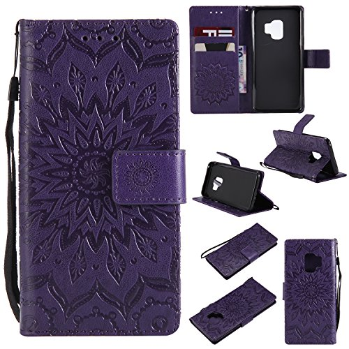 Price comparison product image Wallet Case for Galaxy S9 Plus, PU Leather Wallet Flip Protective Case and Luxury Floral Sun Flower Pattern Folio Magnetic Protective Cover Case with Card Slots for Samsung Galaxy S9 Plus (Purple)