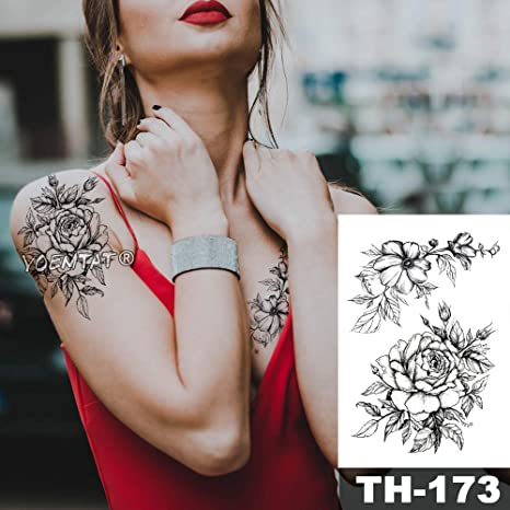 Impermeable Etiqueta Engomada del Tatuaje Temporal Rojo Rosa ...