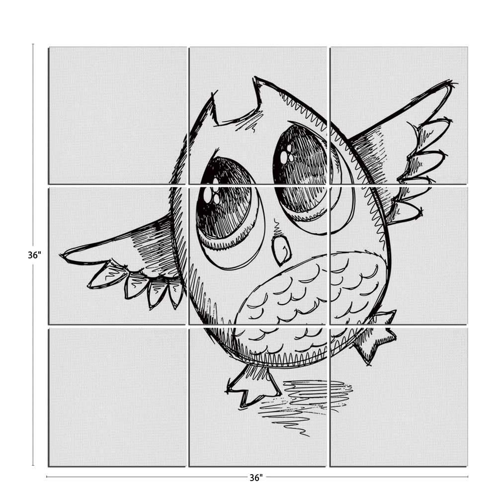 Amazon com iprint 9 piece doodle mural on wood sad owl almost crying with big eyes cartoon sketch crybaby hand drawn illustration decorative