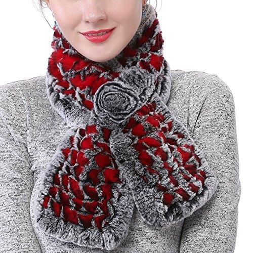 Valpeak Women's Real Rabbit Fur knitted Winter Warm Neck Wrap Scarf Rose Design (Red) ()