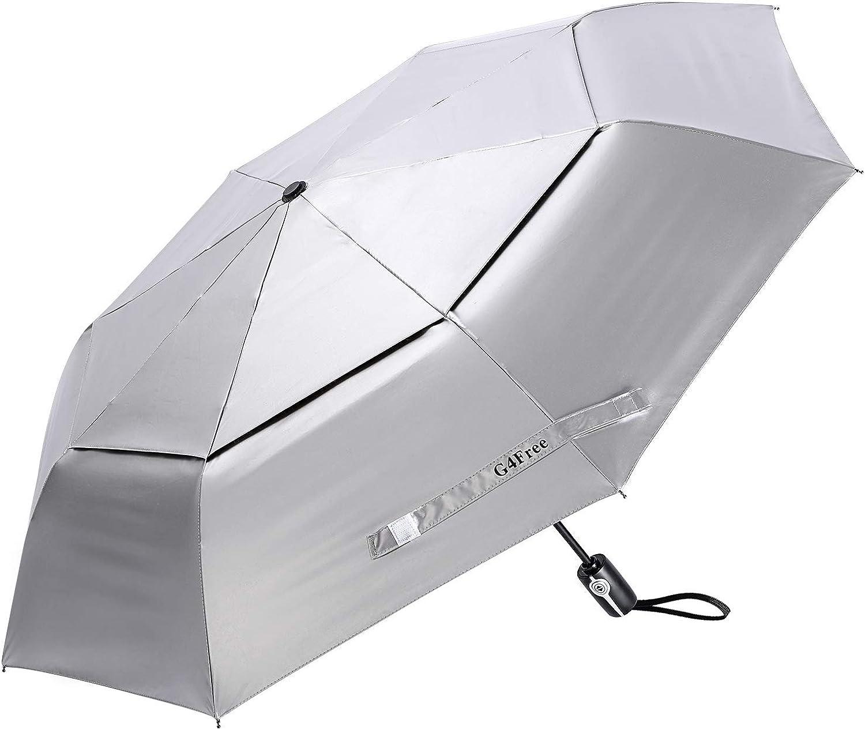G4Free UPF 50+ UV Protection Travel Umbrella 42/46 Inch Windproof Silver Coating Sun Blocking Umbrella